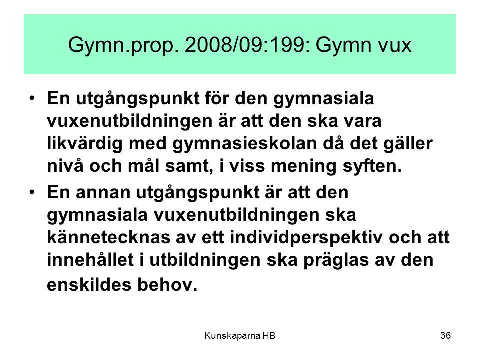 Kunskaparna HB36 Gymn.prop. 2008/09:199: Gymn vux En utgångspunkt för den gymnasiala vuxenutbildningen är att den ska vara likvärdig med gymnasieskola