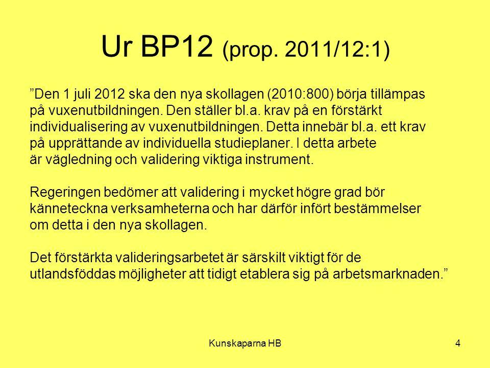 """Kunskaparna HB4 Ur BP12 (prop. 2011/12:1) """"Den 1 juli 2012 ska den nya skollagen (2010:800) börja tillämpas på vuxenutbildningen. Den ställer bl.a. kr"""