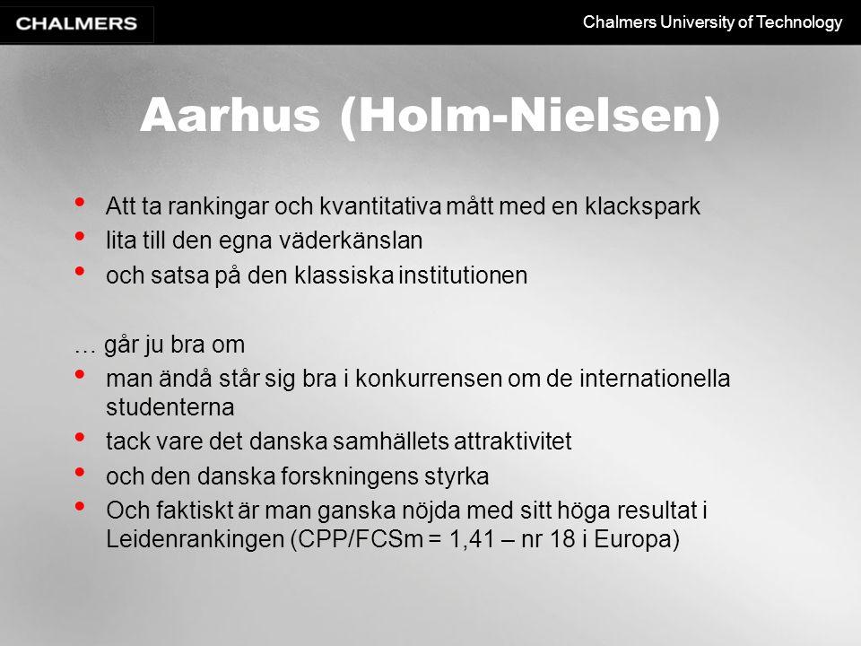 Chalmers University of Technology Aarhus (Holm-Nielsen) Att ta rankingar och kvantitativa mått med en klackspark lita till den egna väderkänslan och s