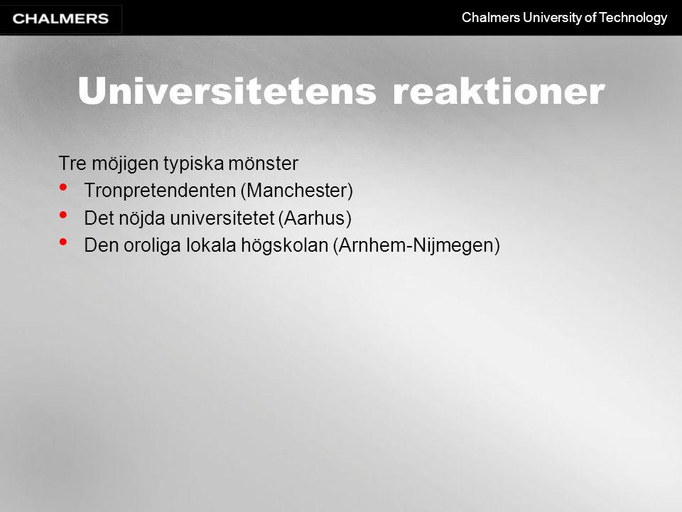 Chalmers University of Technology Universitetens reaktioner Tre möjigen typiska mönster Tronpretendenten (Manchester) Det nöjda universitetet (Aarhus) Den oroliga lokala högskolan (Arnhem-Nijmegen)