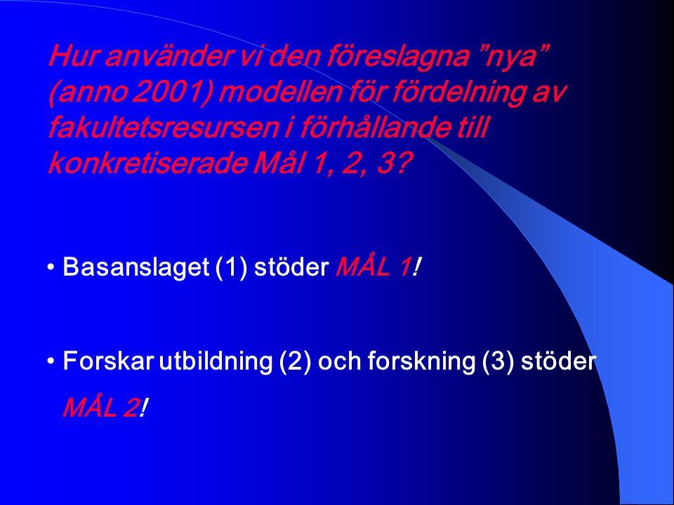 Hur använder vi den föreslagna nya (anno 2001) modellen för fördelning av fakultetsresursen i förhållande till konkretiserade Mål 1, 2, 3.
