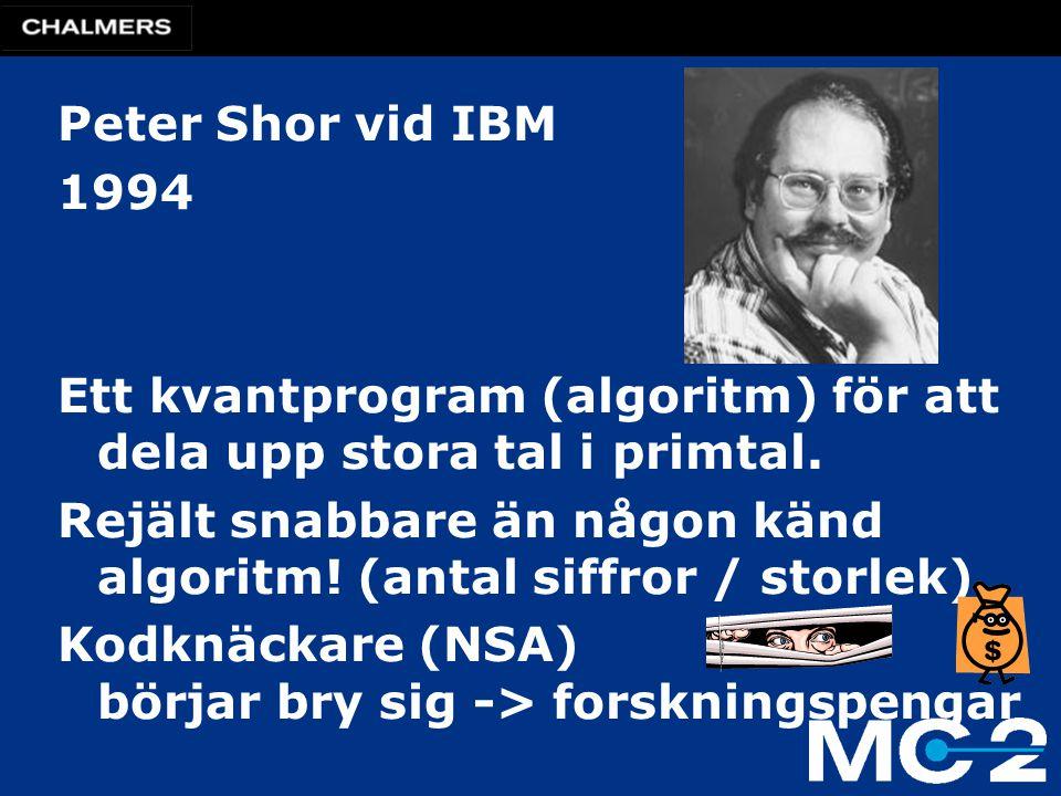 Peter Shor vid IBM 1994 Ett kvantprogram (algoritm) för att dela upp stora tal i primtal. Rejält snabbare än någon känd algoritm! (antal siffror / sto