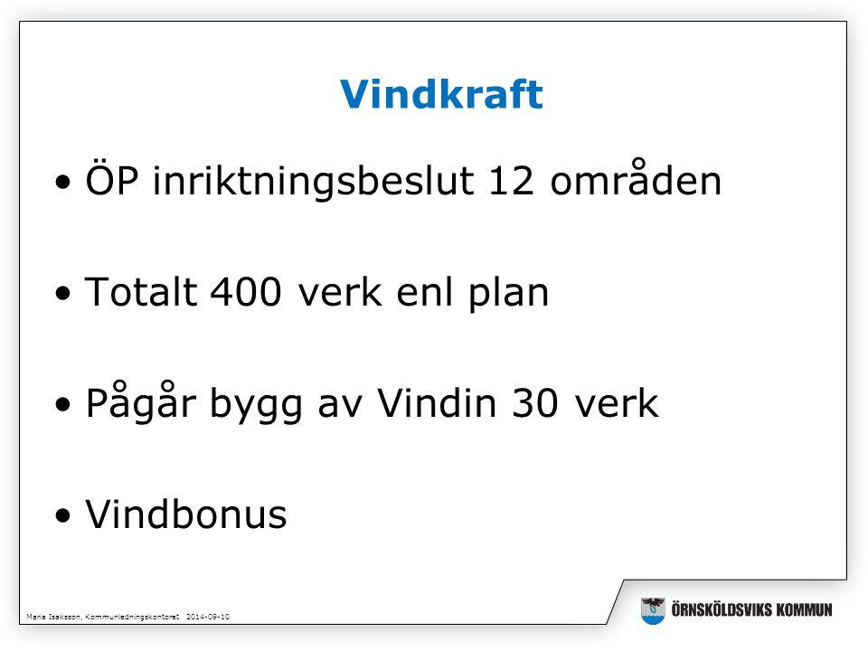 Maria Isaksson, Kommunledningskontoret 2014-09-10 Vindkraft ÖP inriktningsbeslut 12 områden Totalt 400 verk enl plan Pågår bygg av Vindin 30 verk Vindbonus