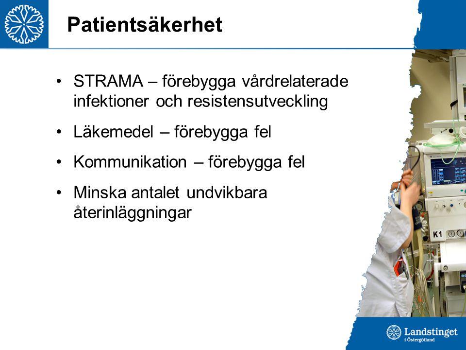 Patientsäkerhet STRAMA – förebygga vårdrelaterade infektioner och resistensutveckling Läkemedel – förebygga fel Kommunikation – förebygga fel Minska antalet undvikbara återinläggningar