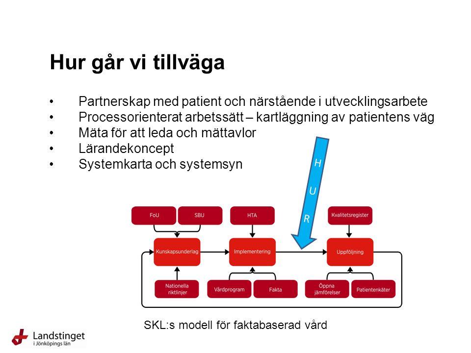 Partnerskap med patient och närstående i utvecklingsarbete Processorienterat arbetssätt – kartläggning av patientens väg Mäta för att leda och mättavlor Lärandekoncept Systemkarta och systemsyn Hur går vi tillväga H U RH U R SKL:s modell för faktabaserad vård