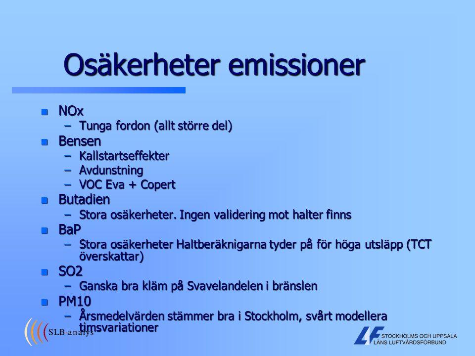 Osäkerheter emissioner n NOx –Tunga fordon (allt större del) n Bensen –Kallstartseffekter –Avdunstning –VOC Eva + Copert n Butadien –Stora osäkerheter