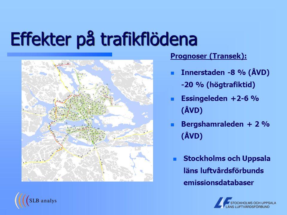 Effekter på trafikflödena n n Innerstaden -8 % (ÅVD) -20 % (högtrafiktid) n n Essingeleden +2-6 % (ÅVD) n n Bergshamraleden + 2 % (ÅVD) Prognoser (Tra
