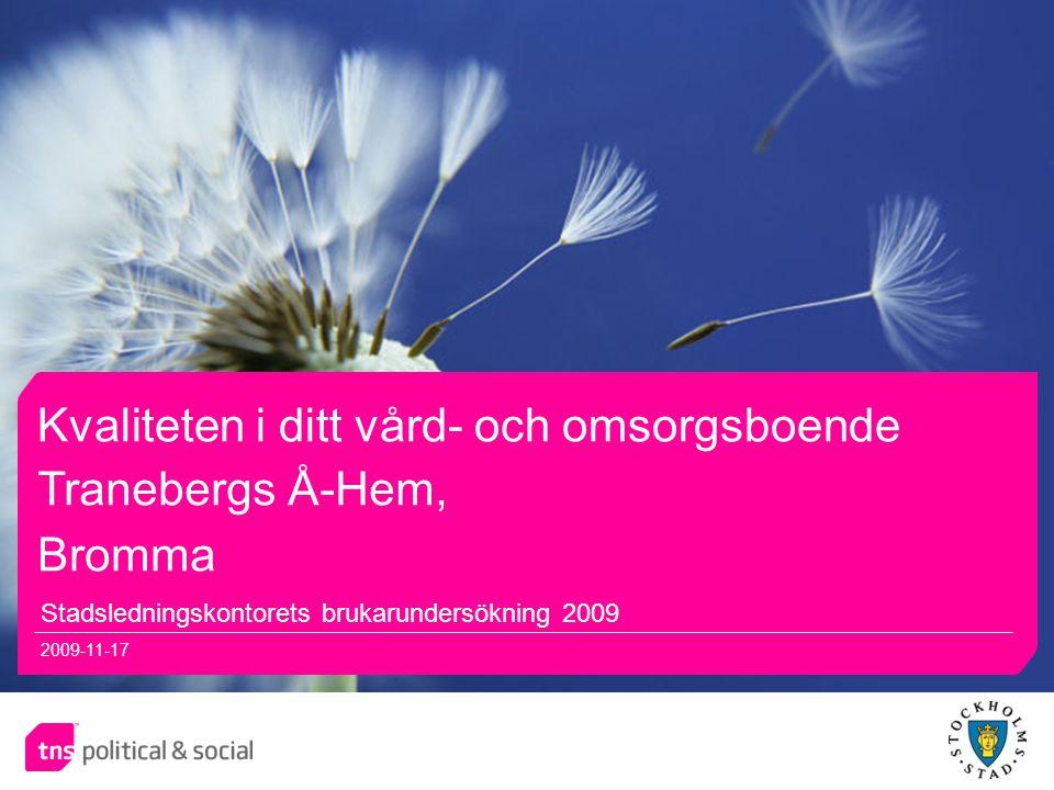 11 Kvaliteten i ditt vård- och omsorgsboende Stadsledningskontorets brukarundersökning 2009 2009-11-17 Tranebergs Å-Hem, Bromma