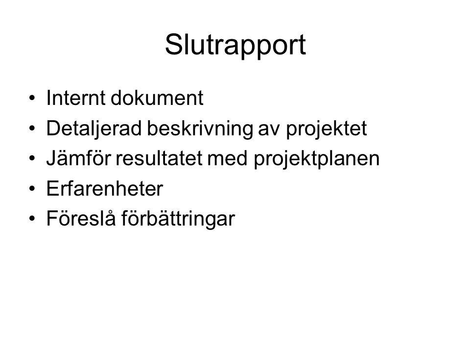 Slutrapport Internt dokument Detaljerad beskrivning av projektet Jämför resultatet med projektplanen Erfarenheter Föreslå förbättringar