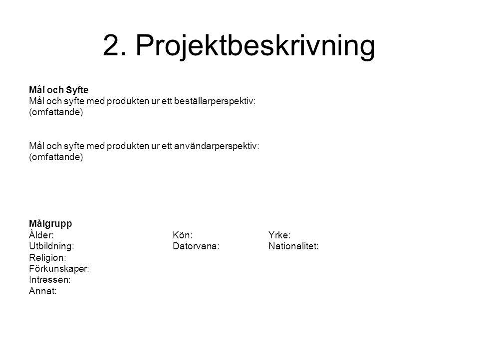 2. Projektbeskrivning Mål och Syfte Mål och syfte med produkten ur ett beställarperspektiv: (omfattande) Mål och syfte med produkten ur ett användarpe