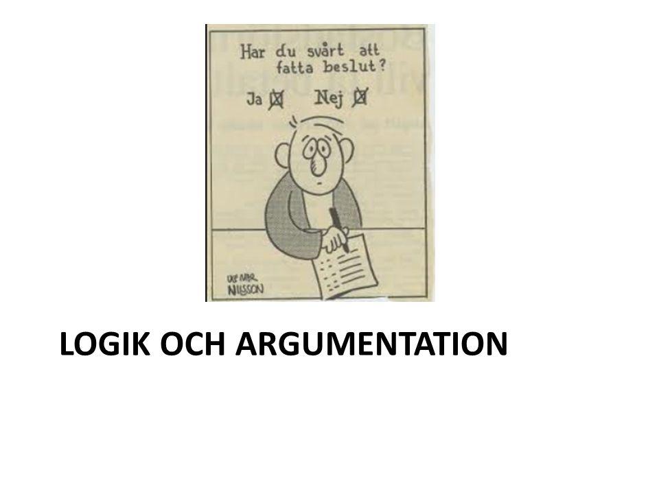 LOGIK OCH ARGUMENTATION