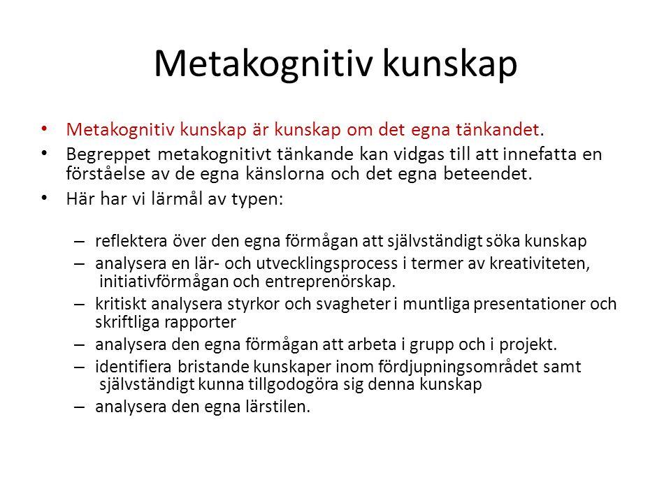 Metakognitiv kunskap Metakognitiv kunskap är kunskap om det egna tänkandet. Begreppet metakognitivt tänkande kan vidgas till att innefatta en förståel