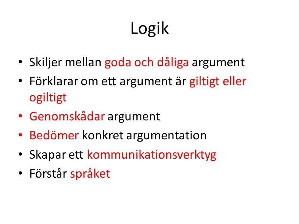 Logik Skiljer mellan goda och dåliga argument Förklarar om ett argument är giltigt eller ogiltigt Genomskådar argument Bedömer konkret argumentation S