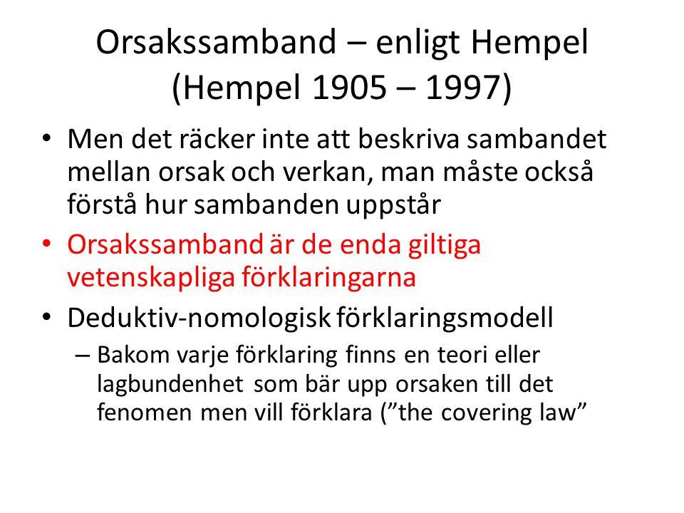 Orsakssamband – enligt Hempel (Hempel 1905 – 1997) Men det räcker inte att beskriva sambandet mellan orsak och verkan, man måste också förstå hur samb