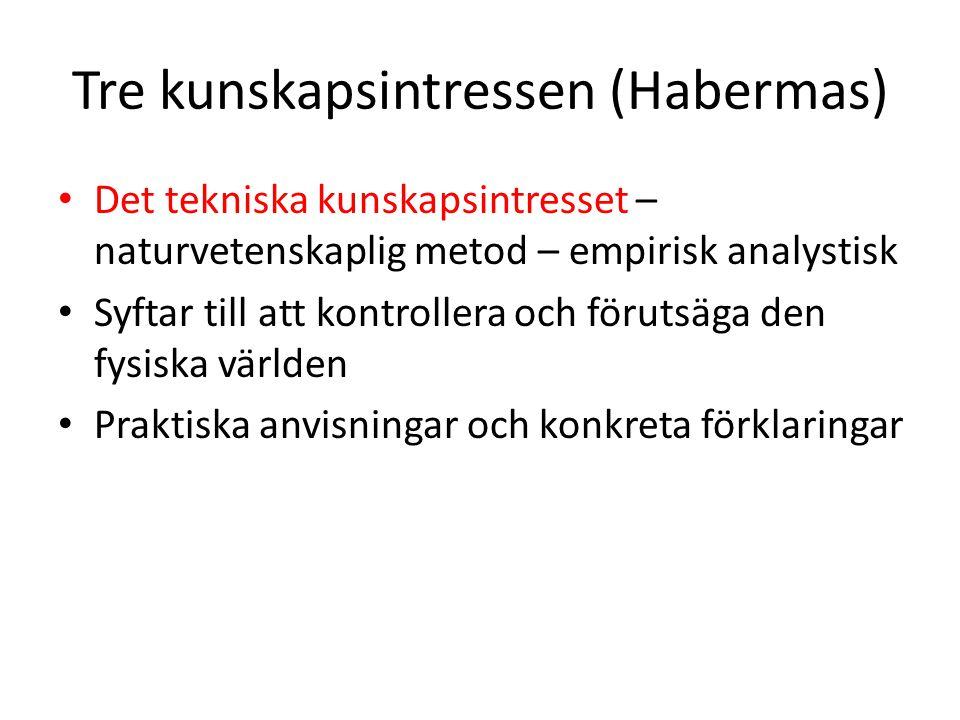 Tre kunskapsintressen (Habermas) Det tekniska kunskapsintresset – naturvetenskaplig metod – empirisk analystisk Syftar till att kontrollera och föruts