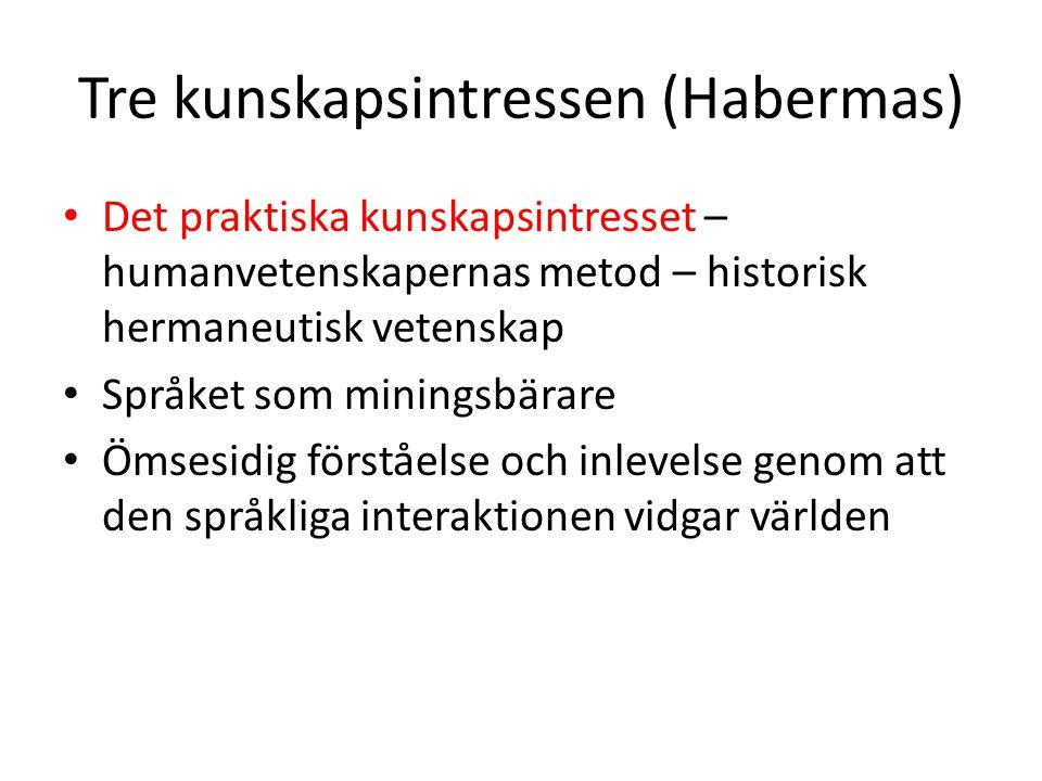 Tre kunskapsintressen (Habermas) Det praktiska kunskapsintresset – humanvetenskapernas metod – historisk hermaneutisk vetenskap Språket som miningsbär