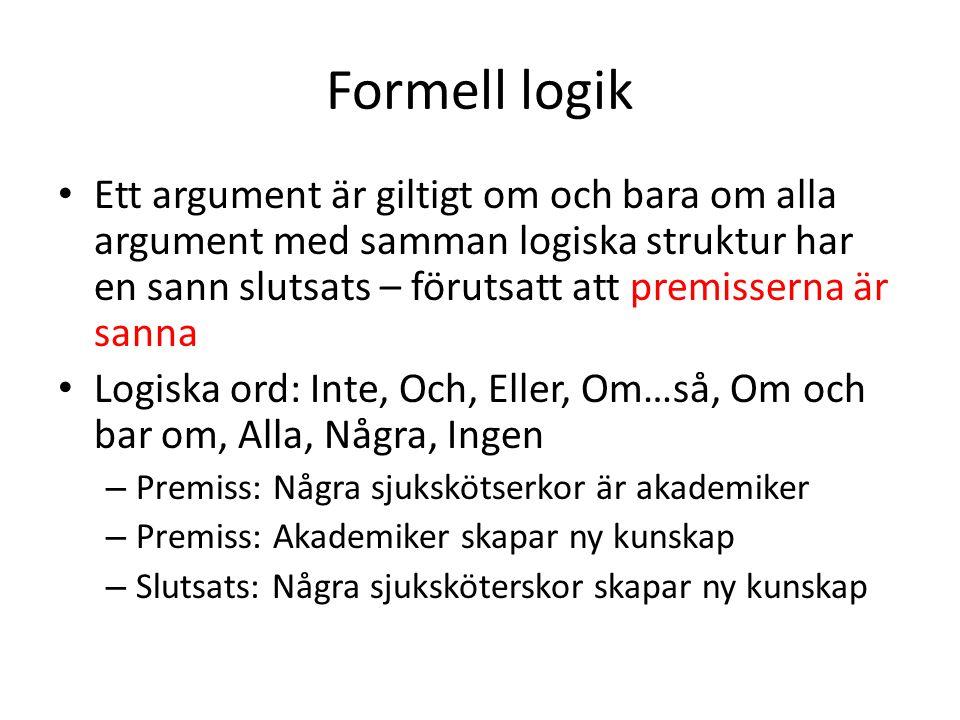 Formell logik Ett argument är giltigt om och bara om alla argument med samman logiska struktur har en sann slutsats – förutsatt att premisserna är san