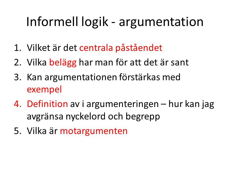 Informell logik - argumentation 1.Vilket är det centrala påståendet 2.Vilka belägg har man för att det är sant 3.Kan argumentationen förstärkas med ex
