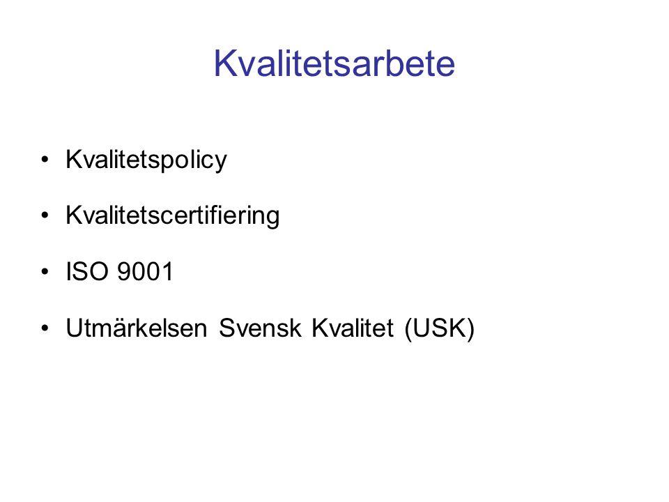 Kvalitetsarbete Kvalitetspolicy Kvalitetscertifiering ISO 9001 Utmärkelsen Svensk Kvalitet (USK)