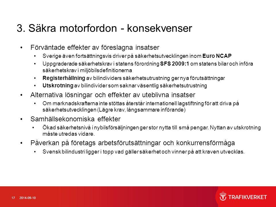172014-09-10 3. Säkra motorfordon - konsekvenser Förväntade effekter av föreslagna insatser Sverige även fortsättningsvis driver på säkerhetsutvecklin