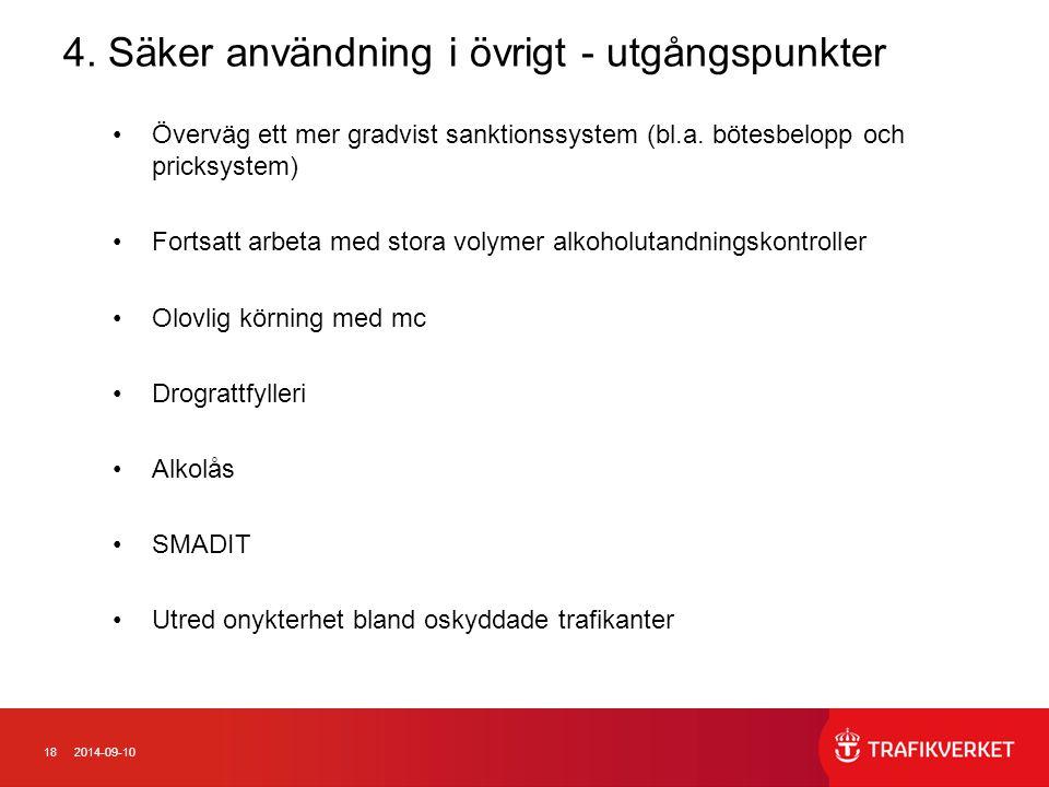 182014-09-10 4. Säker användning i övrigt - utgångspunkter Överväg ett mer gradvist sanktionssystem (bl.a. bötesbelopp och pricksystem) Fortsatt arbet