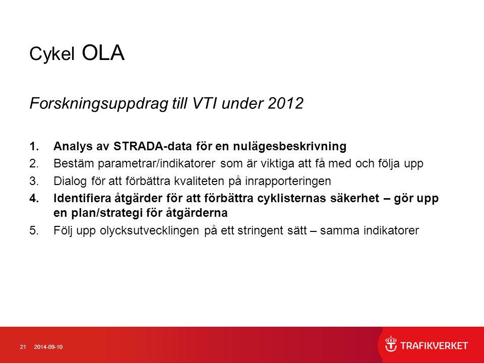212014-09-10 Cykel OLA Forskningsuppdrag till VTI under 2012 1.Analys av STRADA-data för en nulägesbeskrivning 2.Bestäm parametrar/indikatorer som är