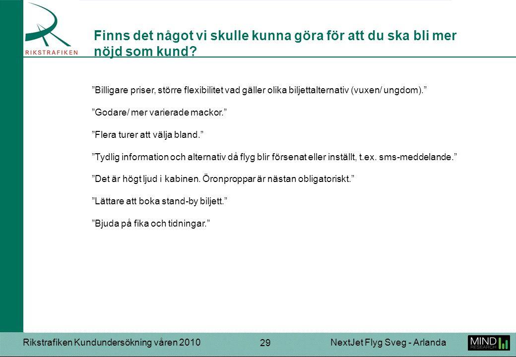 """Rikstrafiken Kundundersökning våren 2010NextJet Flyg Sveg - Arlanda 29 """"Billigare priser, större flexibilitet vad gäller olika biljettalternativ (vuxe"""