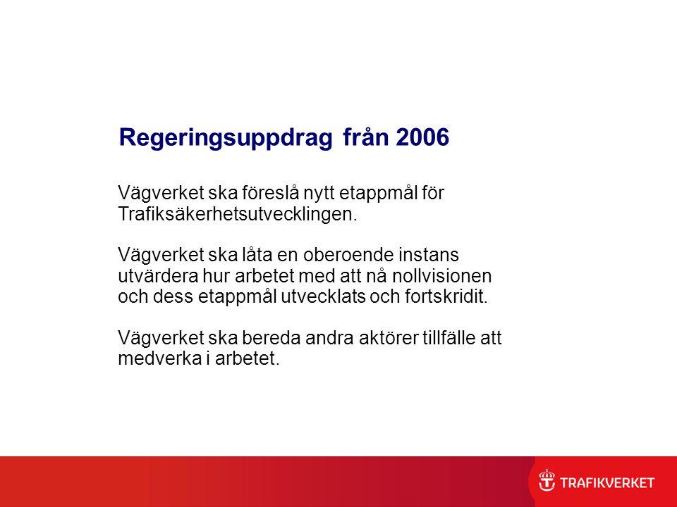 Regeringsuppdrag från 2006 Vägverket ska föreslå nytt etappmål för Trafiksäkerhetsutvecklingen. Vägverket ska låta en oberoende instans utvärdera hur