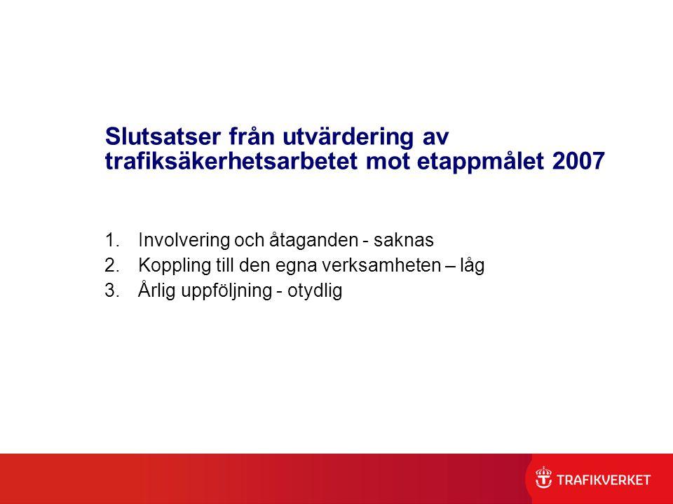 Slutsatser från utvärdering av trafiksäkerhetsarbetet mot etappmålet 2007 1.Involvering och åtaganden - saknas 2.Koppling till den egna verksamheten –
