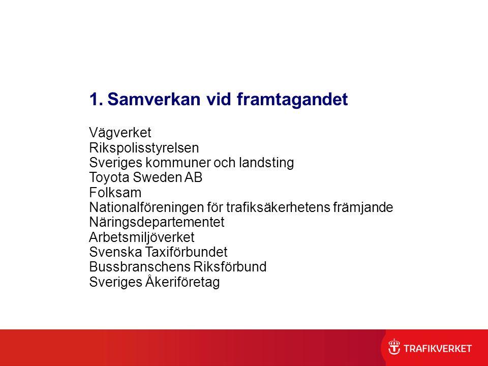 1.Samverkan vid framtagandet Vägverket Rikspolisstyrelsen Sveriges kommuner och landsting Toyota Sweden AB Folksam Nationalföreningen för trafiksäkerh