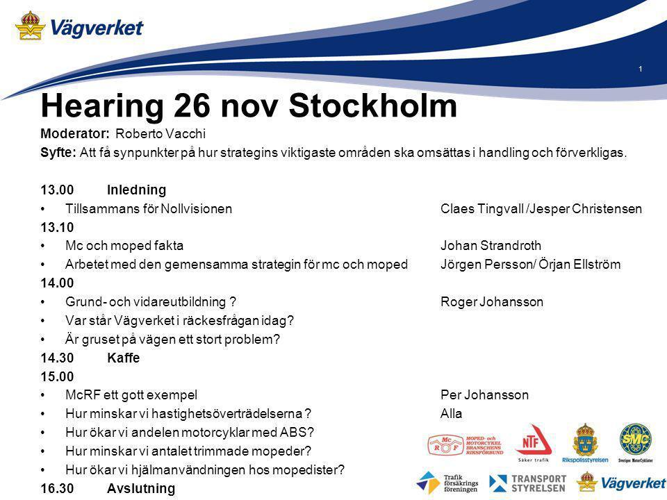 Hearing 26 nov Stockholm Moderator: Roberto Vacchi Syfte: Att få synpunkter på hur strategins viktigaste områden ska omsättas i handling och förverkli
