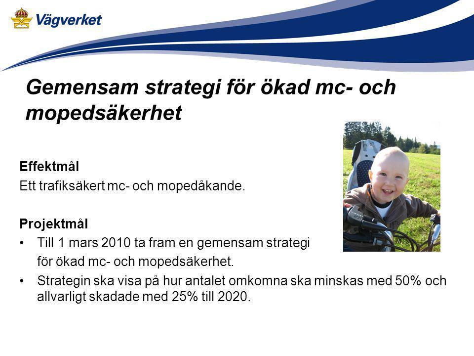 Effektmål Ett trafiksäkert mc- och mopedåkande. Projektmål Till 1 mars 2010 ta fram en gemensam strategi för ökad mc- och mopedsäkerhet. Strategin ska