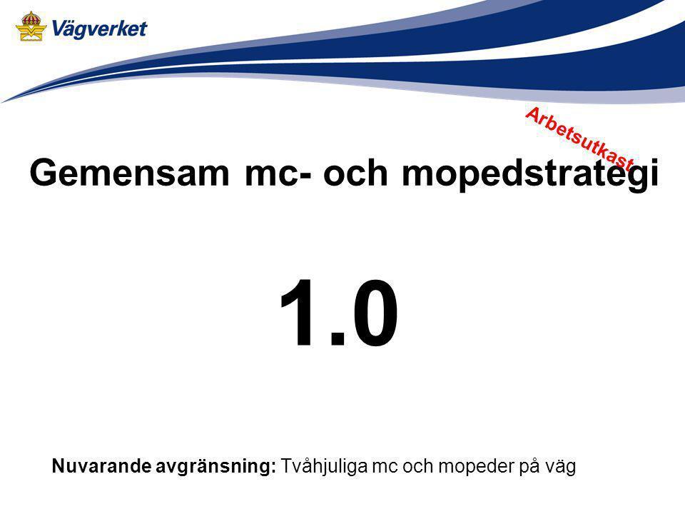 Gemensam mc- och mopedstrategi 1.0 Nuvarande avgränsning: Tvåhjuliga mc och mopeder på väg Arbetsutkast