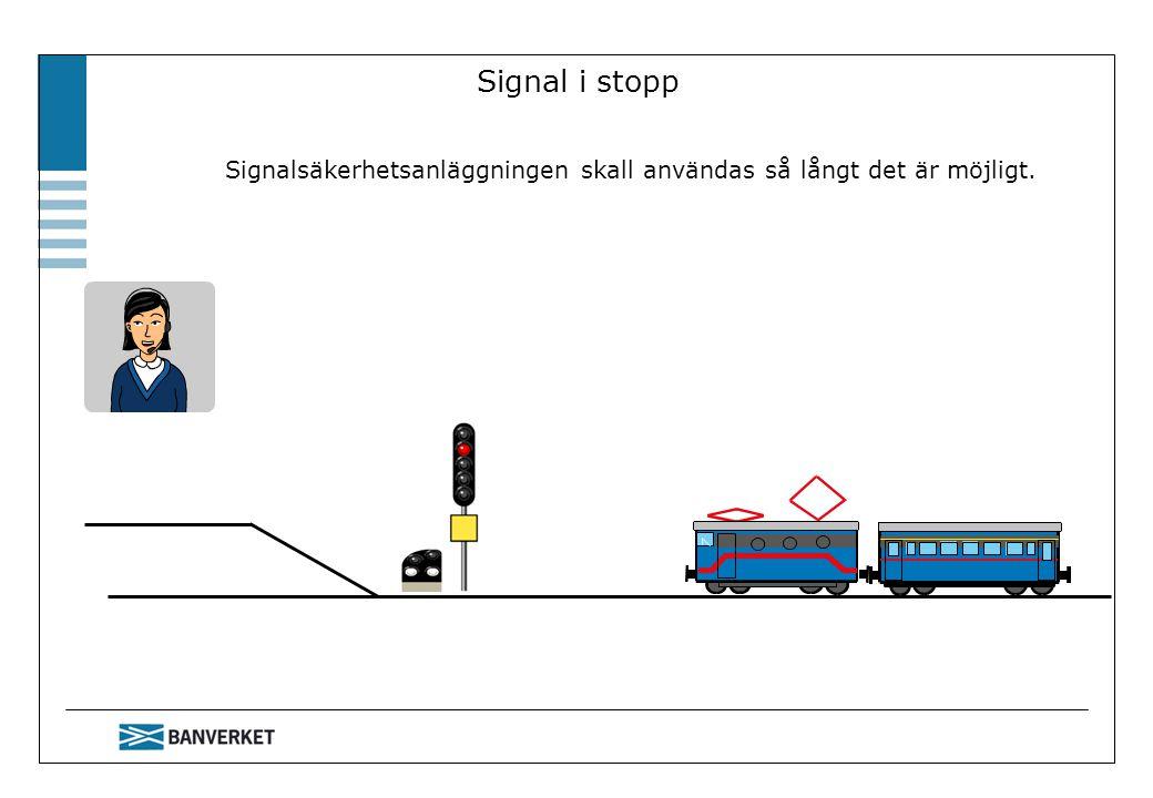 Signal i stopp Signalsäkerhetsanläggningen skall användas så långt det är möjligt.