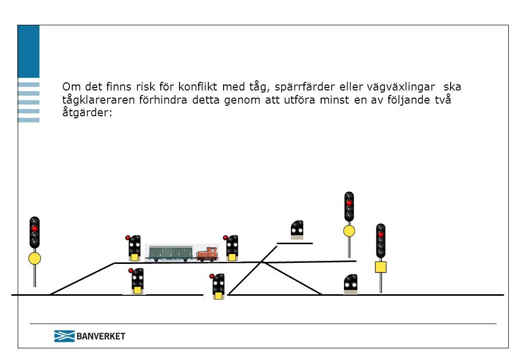 Om det finns risk för konflikt med tåg, spärrfärder eller vägväxlingar ska tågklareraren förhindra detta genom att utföra minst en av följande två åtg