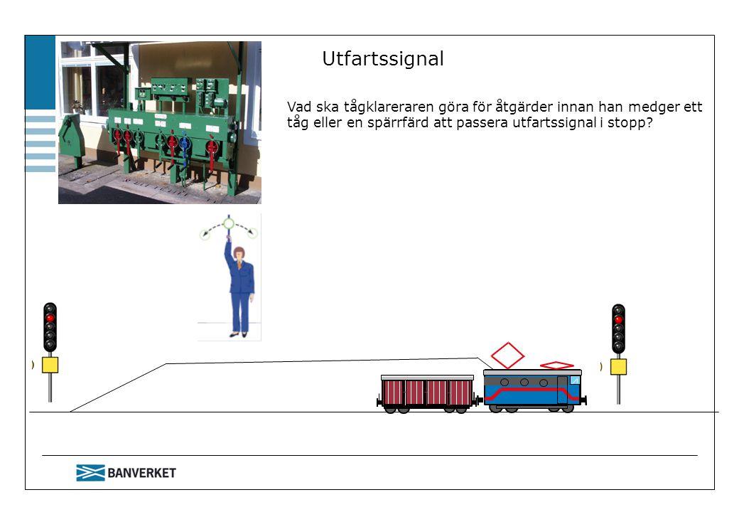 Utfartssignal Vad ska tågklareraren göra för åtgärder innan han medger ett tåg eller en spärrfärd att passera utfartssignal i stopp?