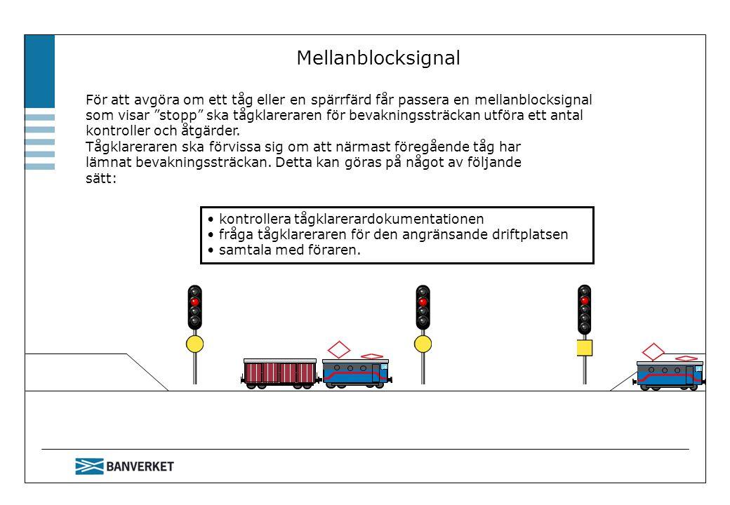 """Mellanblocksignal För att avgöra om ett tåg eller en spärrfärd får passera en mellanblocksignal som visar """"stopp"""" ska tågklareraren för bevakningssträ"""