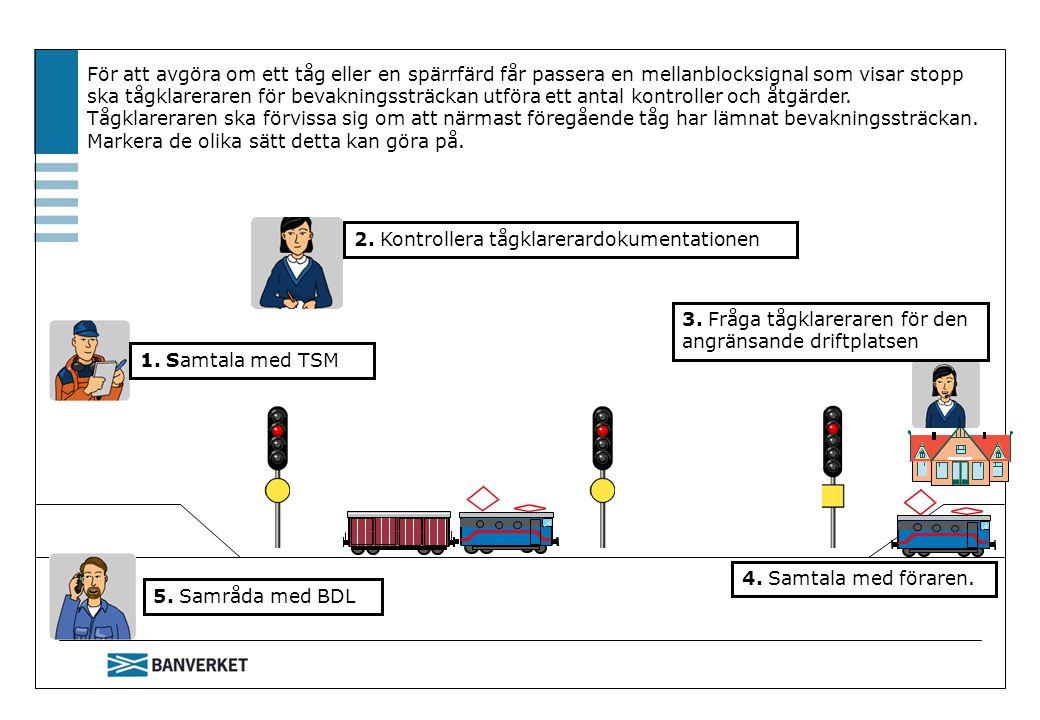 För att avgöra om ett tåg eller en spärrfärd får passera en mellanblocksignal som visar stopp ska tågklareraren för bevakningssträckan utföra ett anta