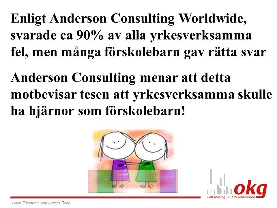 Enligt Anderson Consulting Worldwide, svarade ca 90% av alla yrkesverksamma fel, men många förskolebarn gav rätta svar Anderson Consulting menar att detta motbevisar tesen att yrkesverksamma skulle ha hjärnor som förskolebarn.