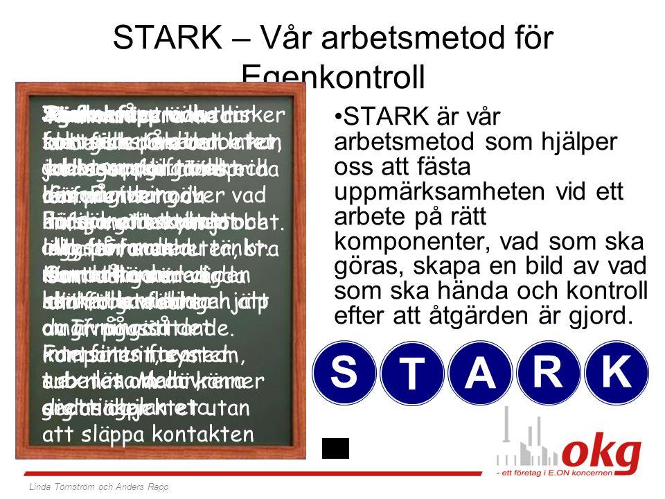 STARK – Vår arbetsmetod för Egenkontroll STARK är vår arbetsmetod som hjälper oss att fästa uppmärksamheten vid ett arbete på rätt komponenter, vad so