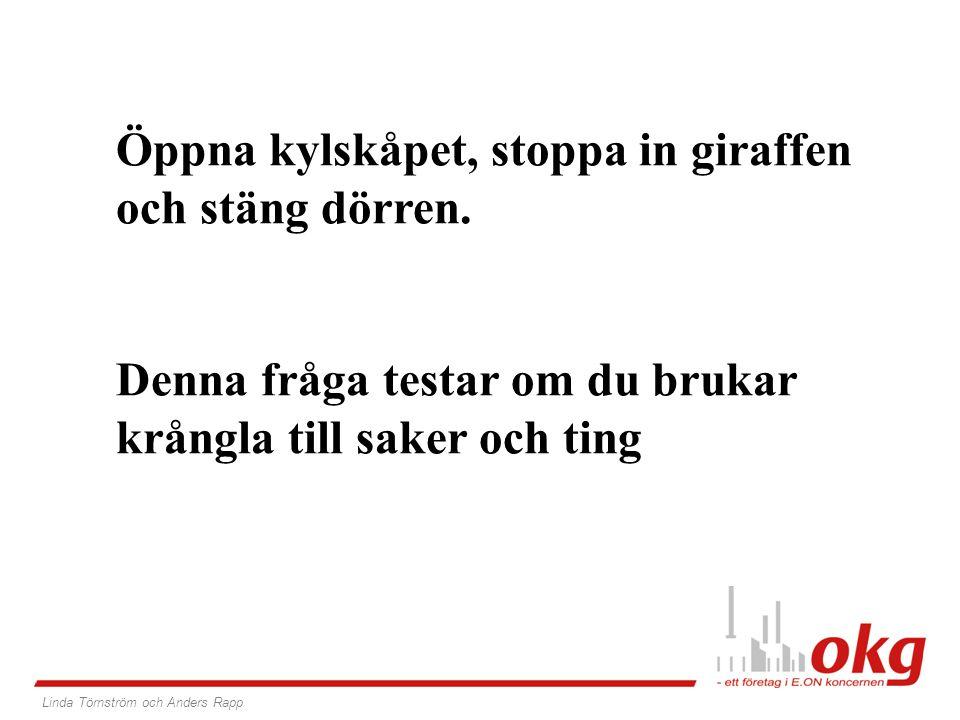 2. Hur får du in en elefant i ett kylskåp? Linda Törnström och Anders Rapp