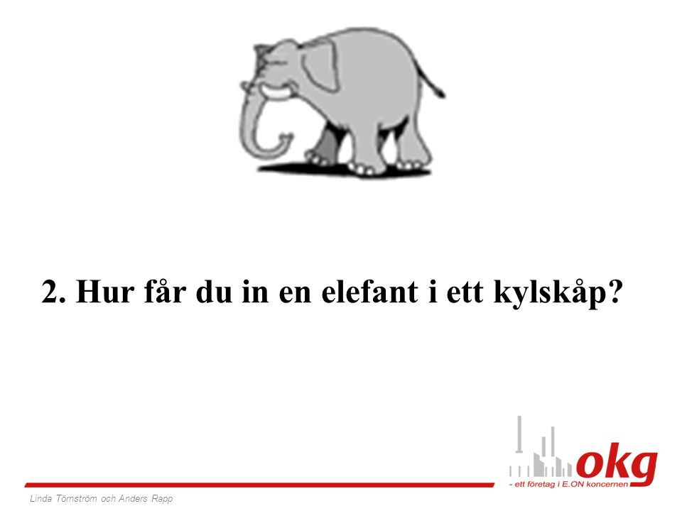 Svarade du – Öppna kylskåpet och stoppa in elefanten.