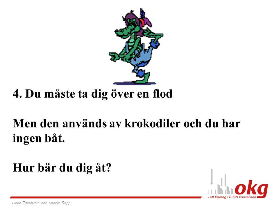 4. Du måste ta dig över en flod Men den används av krokodiler och du har ingen båt. Hur bär du dig åt? Linda Törnström och Anders Rapp