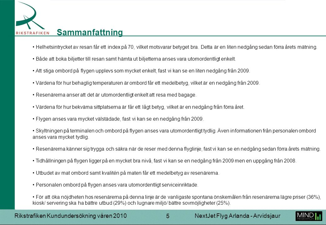 Rikstrafiken Kundundersökning våren 2010NextJet Flyg Arlanda - Arvidsjaur 5 Helhetsintrycket av resan får ett index på 70, vilket motsvarar betyget bra.