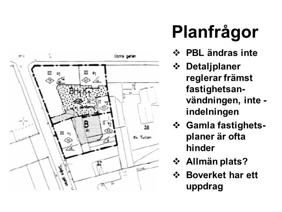  PBL ändras inte  Detaljplaner reglerar främst fastighetsan- vändningen, inte - indelningen  Gamla fastighets- planer är ofta hinder  Allmän plats