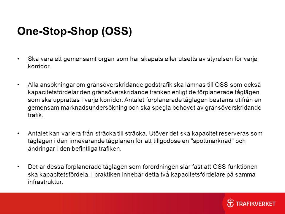 One-Stop-Shop (OSS) Ska vara ett gemensamt organ som har skapats eller utsetts av styrelsen för varje korridor. Alla ansökningar om gränsöverskridande