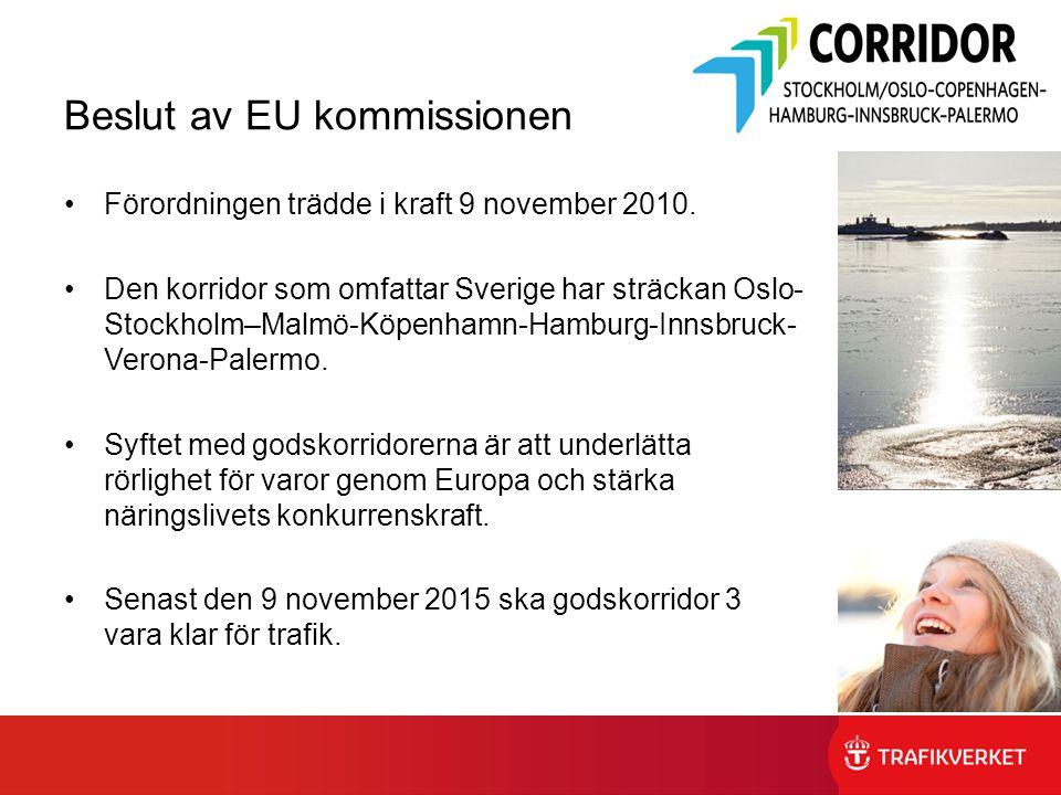 Beslut av EU kommissionen Förordningen trädde i kraft 9 november 2010. Den korridor som omfattar Sverige har sträckan Oslo- Stockholm–Malmö-Köpenhamn-