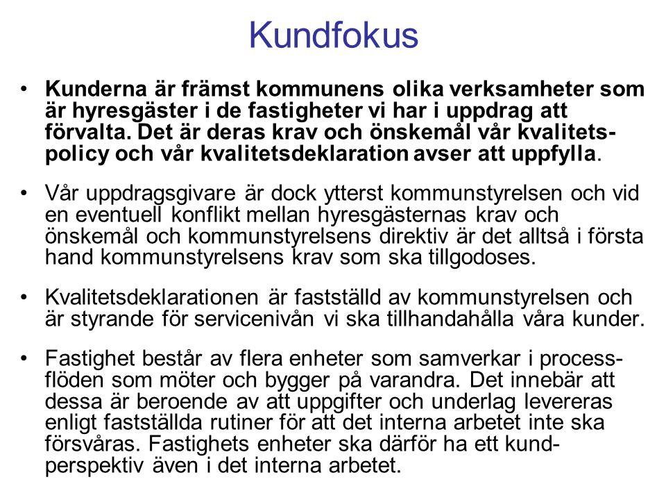 Kundfokus Kunderna är främst kommunens olika verksamheter som är hyresgäster i de fastigheter vi har i uppdrag att förvalta.