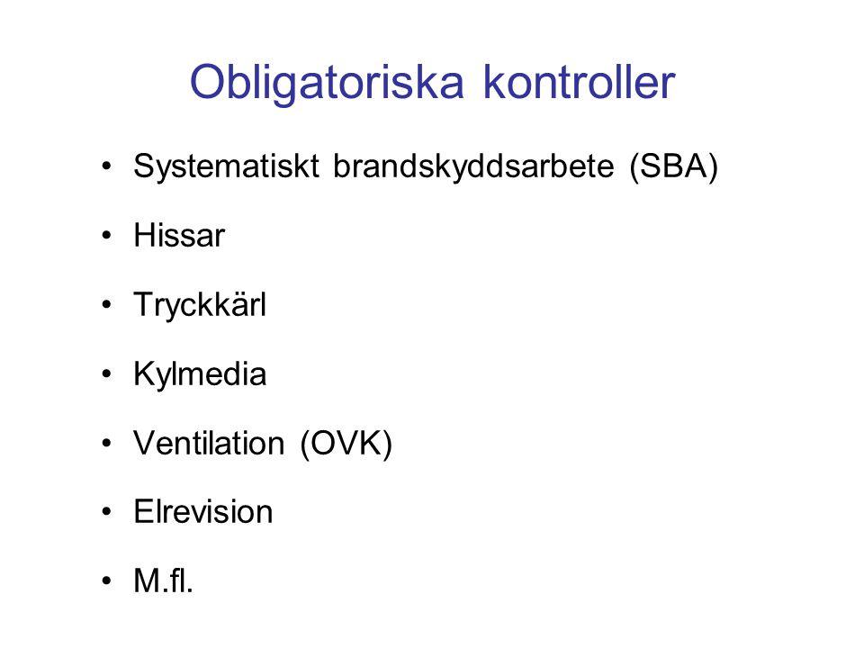 Obligatoriska kontroller Systematiskt brandskyddsarbete (SBA) Hissar Tryckkärl Kylmedia Ventilation (OVK) Elrevision M.fl.