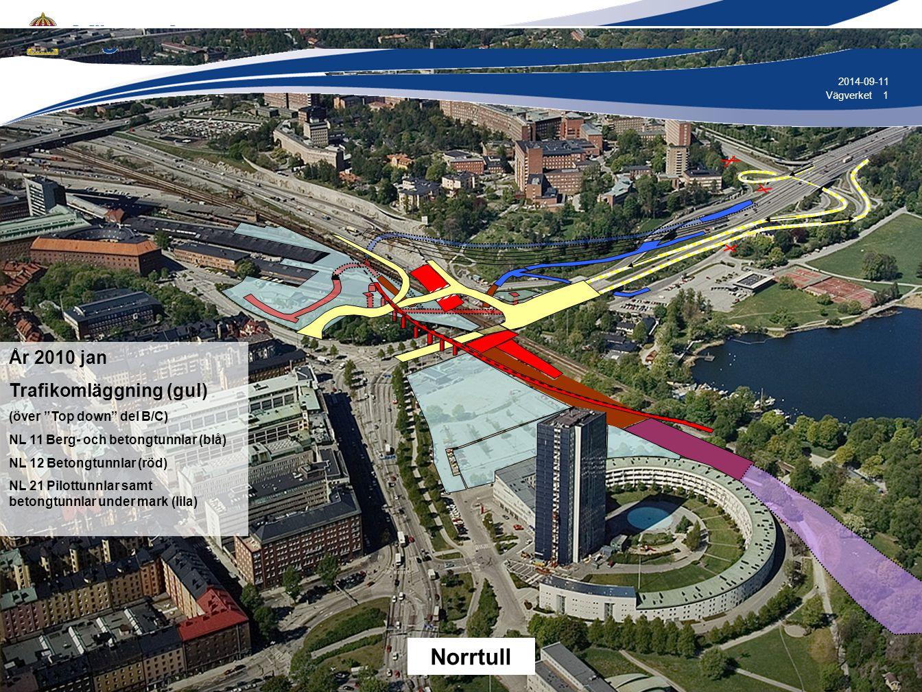 1 1Vägverket 2014-09-11 År 2010 jan Trafikomläggning (gul) (över Top down del B/C) NL 11 Berg- och betongtunnlar (blå) NL 12 Betongtunnlar (röd) NL 21 Pilottunnlar samt betongtunnlar under mark (lila) Norrtull